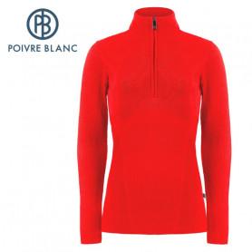 Pull POIVRE BLANC 1/2 zip W20-3540 WO Rouge Femme