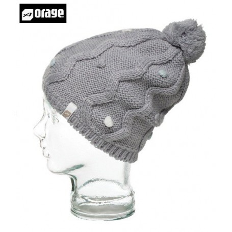 Bonnet à pompon ORAGE Jr Saintonge beanie heather grey fille