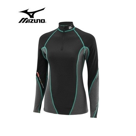Maillot tech MIZUNO 1/2 zip Virtual Body Noir Femmes