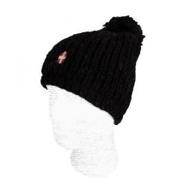 Bonnet de ski en laine Savoie Pompon Noir