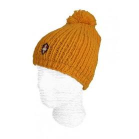 Bonnet de ski en laine Savoie Pompon Moutarde