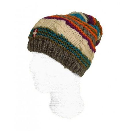 Bonnet de ski long et en laine Savoie Pompon Multicouleur