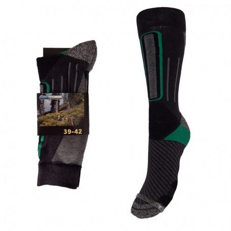 Chaussettes de Randonnée Trekking Noir/Vert Unisexe