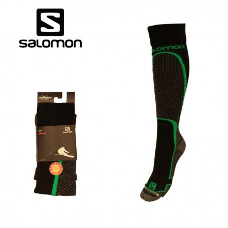 Chaussettes de ski SALOMON Impact Noir/Vert Unisexe