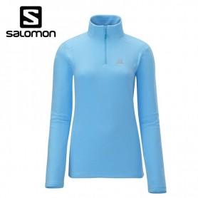 Polaire demi-zip SALOMON Panorama HZ Bleu ciel Femmes