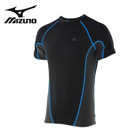 T-shirt thermique MIZUNO Jacquard Noir/Bleu Homme