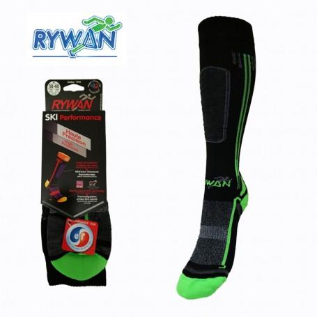 Chaussettes de ski RYWAN Cortina Noir / Vert Unisexe