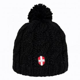 Bonnet de Ski Croix de Savoie Pompon Noir Unisexe