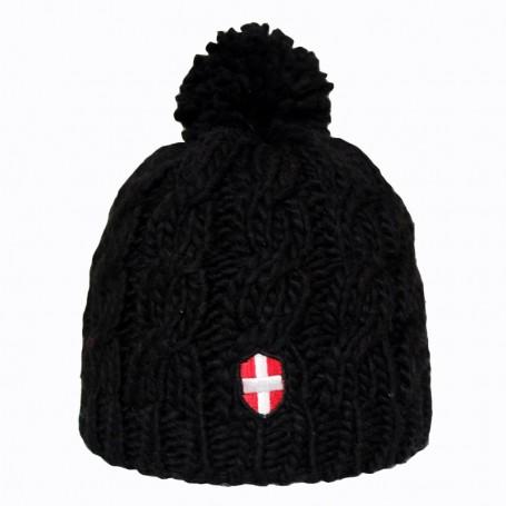 Bonnet de Ski Croix de Savoie Pompon Noir