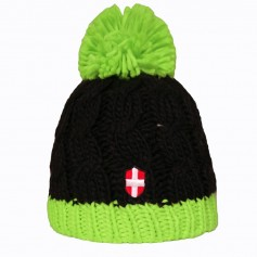Bonnet de ski Croix de Savoie Pompon Noir/vert Unisexe