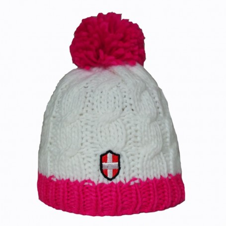 Bonnet de ski Croix de Savoie Pompon Blanc/Rose