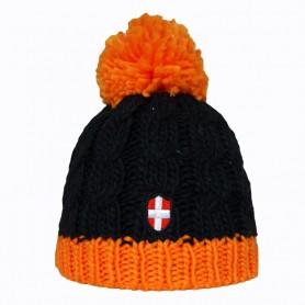 Bonnet de ski Croix de Savoie Pompon Noir/Orange