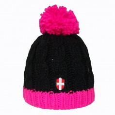 Bonnet de ski Croix de Savoie Pompon Noir/rose