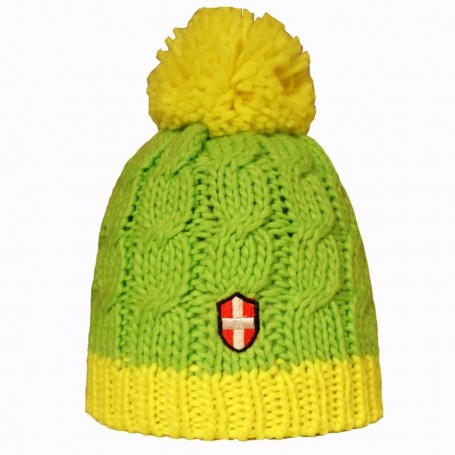 Bonnet de ski Croix de Savoie Pompon Vert/jaune