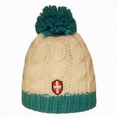 Bonnet de ski Croix de Savoie Pompon Blanc/Bleu Unisexe