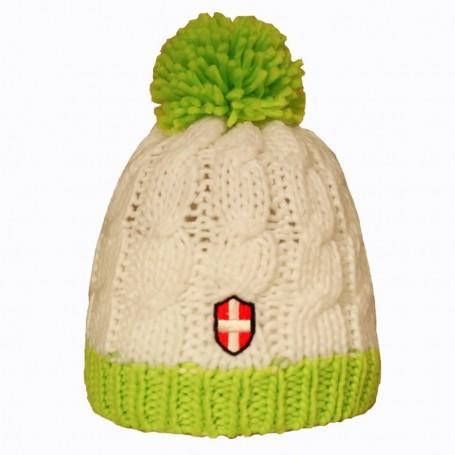 Bonnet de ski Croix de Savoie Pompon Blanc/vert Unisexe