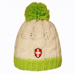 Bonnet de ski Croix de Savoie Pompon Blanc/vert