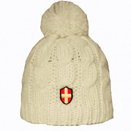 Bonnet de Ski Croix de Savoie Pompon Blanc