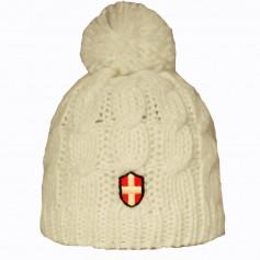 Bonnet de Ski Croix de Savoie Pompon Blanc Unisexe