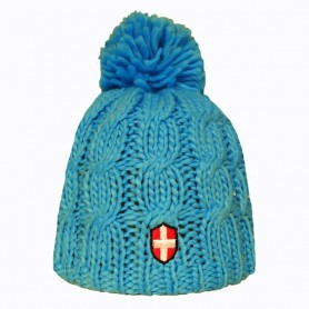 Bonnet de ski Croix de Savoie Pompon Bleu Clair