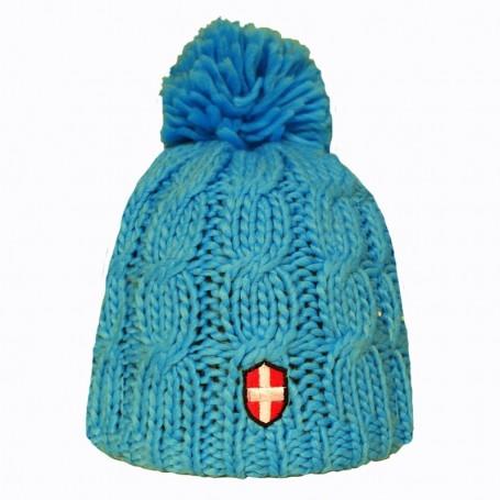 Bonnet de ski Croix de Savoie Pompon Bleu Clair Unisexe