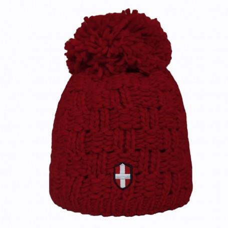 Bonnet de ski Croix de Savoie Gros Pompon Rouge
