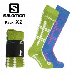 Chaussettes de ski SALOMON Team Jr Bleu / Vert Junior (2 paires)
