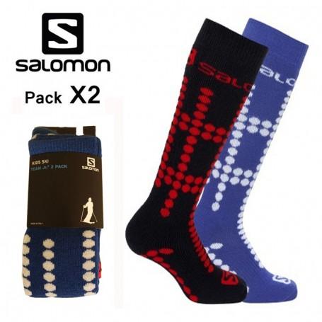 Chaussettes de ski SALOMON Team Jr Noir / Bleu Junior (2 paires)