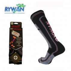 Chaussettes RYWAN Bio-Ceramic de ski Noir / Gris / RoseFemme