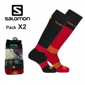 Chaussettes de ski SALOMON All Round Noir / Rouge Unisexe (2 paires)