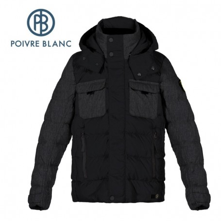 Veste POIVRE BLANC JRBY/A Down Jacket Noire Garçon