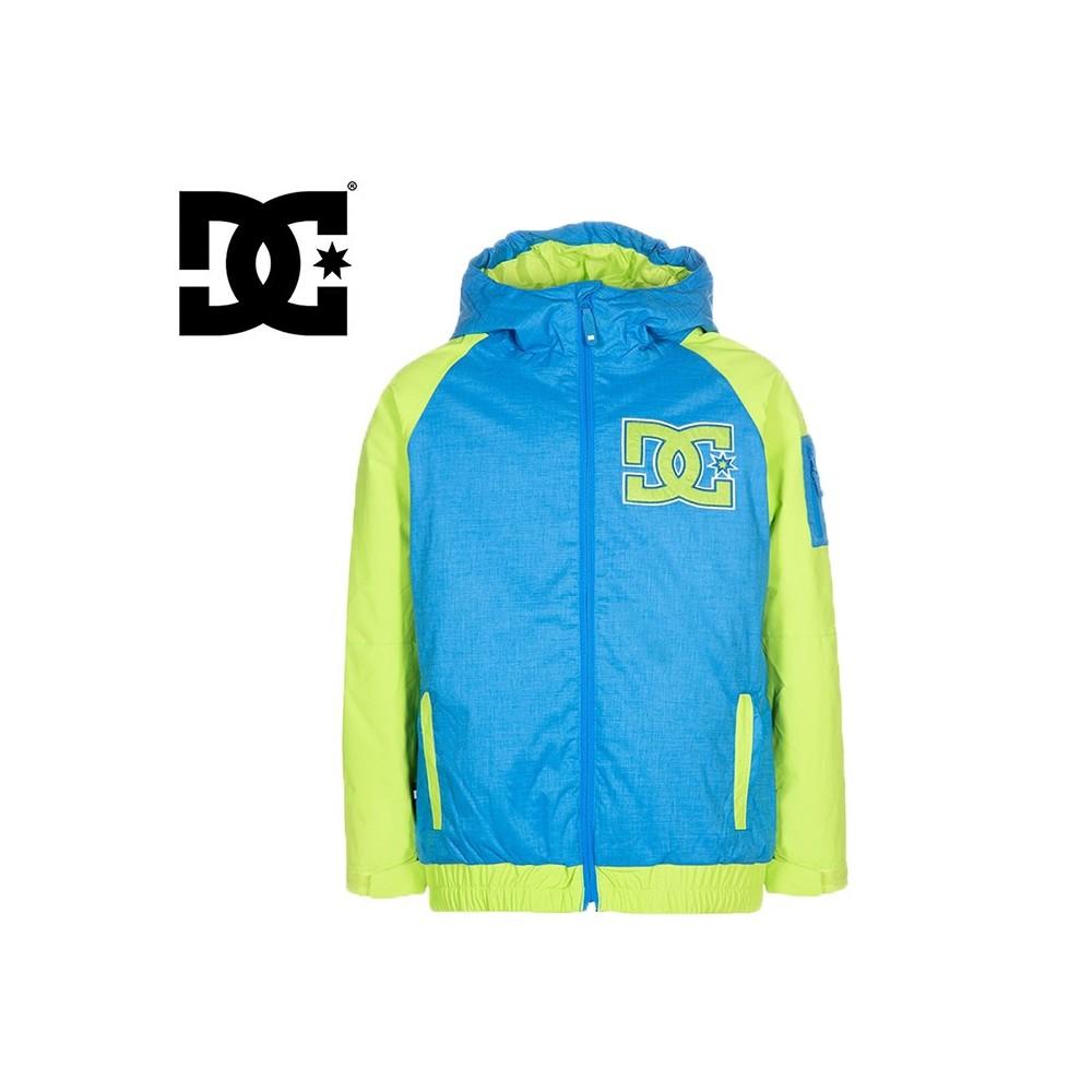 Blouson de ski DC Shoes Troop bleu electrique et vert anis pour garçon
