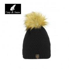 Bonnet de ski Pompon COSY & SNOW Nina Noir Femme