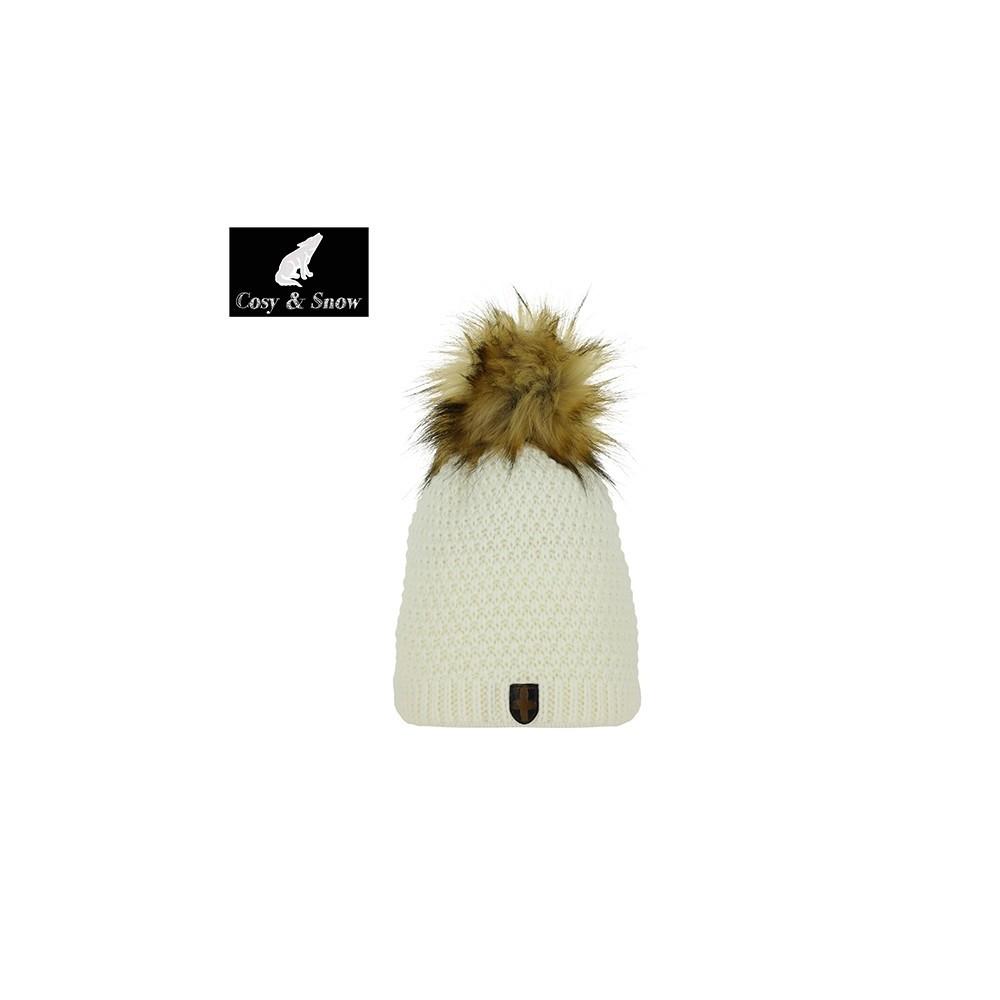 Bonnet de ski Pompon Cosy&Snow Nina Naturel Unisexe Blanc écru