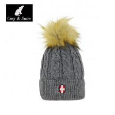 Bonnet de ski Pompon COSY & SNOW Steph Gris Unisexe