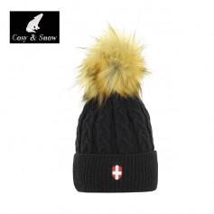 Bonnet de ski Pompon COSY & SNOW Steph Noir Unisexe