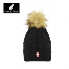 Bonnet de ski Pompon COSY & SNOW Eden Noir Unisexe