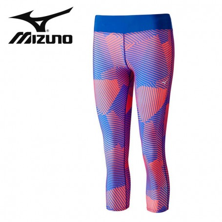 Collant MIZUNO Phenix 3/4 Tights Bleu/corail Femme