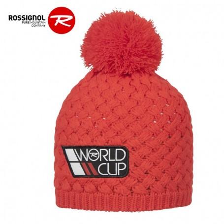 Bonnet de ski ROSSIGNOL World Cup Pompon Rouge Orangé Homme