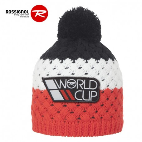 Bonnet de ski ROSSIGNOL World Cup Pompon Noir / Rouge Junior