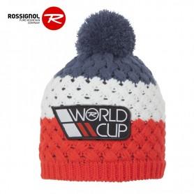 Bonnet de ski ROSSIGNOL World Cup Pompon Bleu Jean / Rouge Junior
