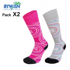 Chaussettes RYWAN Lot Ski Girls Rose / Gris Junior (2 paires)
