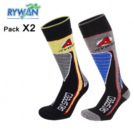 Chaussettes RYWAN Lot Ski Boy Jaune/Bleu Junior (2 paires)
