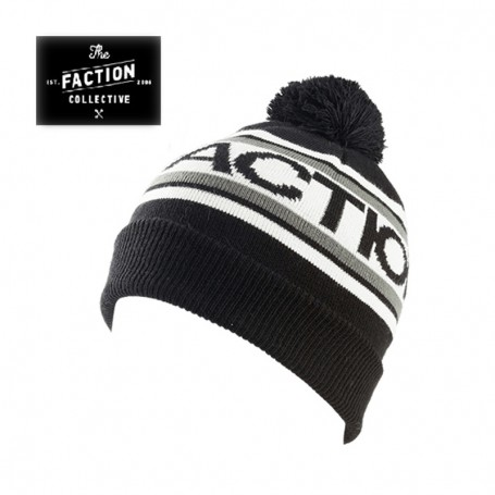 Bonnet de ski THE FACTION COLLECTIVE Logo Pom Pom Noir Unisexe