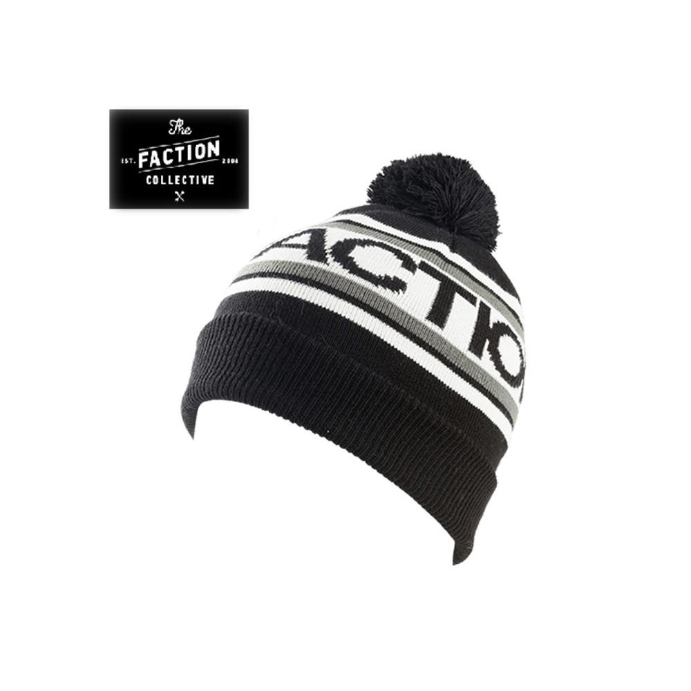Bonnet de ski THE FACTION COLLECTIVE  Logo Pom Pom Noir Unisexe