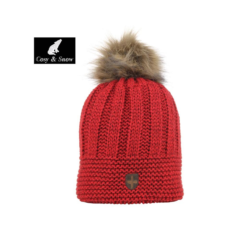 Bonnet de ski COSY & SNOW Brita Rouge Chiné Unisexe
