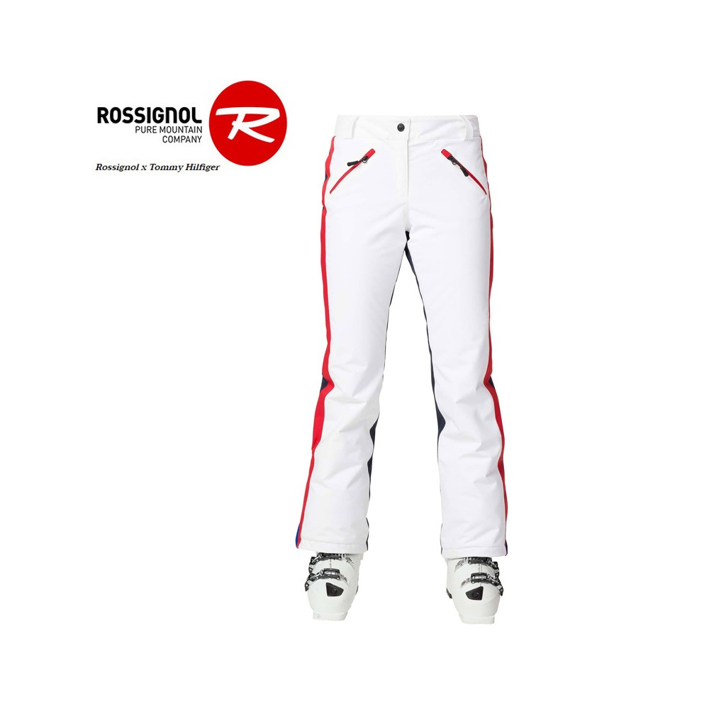 Pantalon de ski ROSSIGNOL/HILFIGER Striking Blanc Femme