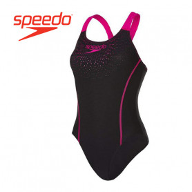 Maillot de bain 1 pièce SPEEDO Sports Logo Noir / Rose Femme