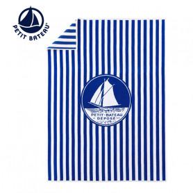 Serviette de plage PETIT BATEAU Logo Bleu rayé Unisexe